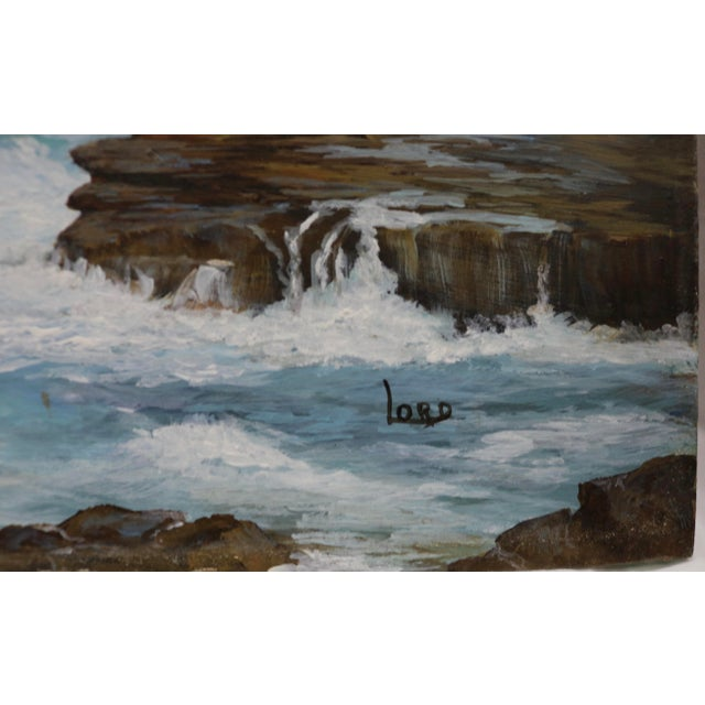 Traditional Vintage Seascape Acrylic Painting on Board For Sale - Image 3 of 5