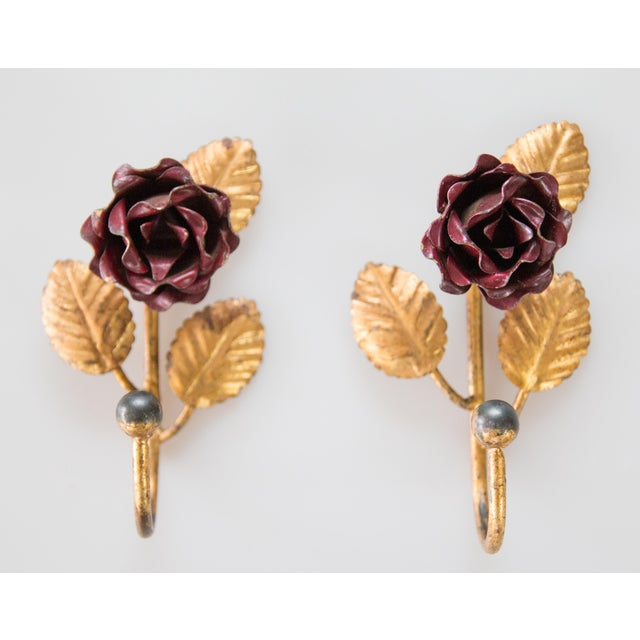 Gorgeous Mid-Century pair of French tole wine red flowers and gilded leaves wall hooks