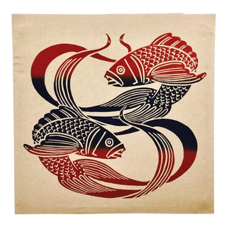 Vintage Pisces Silk Screen on Linen For Sale