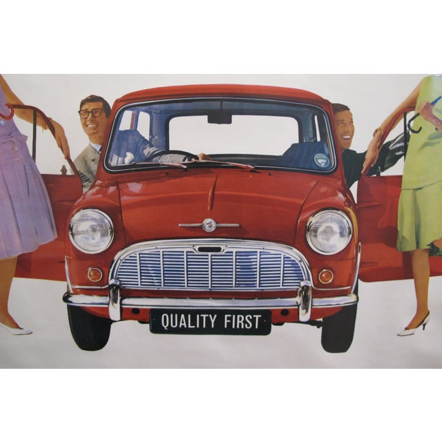 This late 1950's vintage poster is advertising the classic and iconic Morris 850 Mini car, quality first, BMC The British...