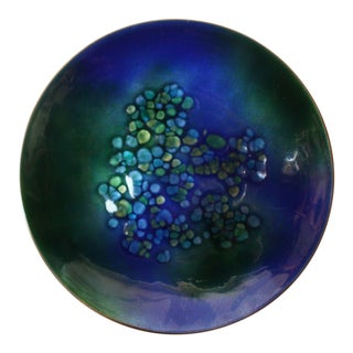 Vintage Blue and Green Enamel on Copper Round Dish by Bovano For Sale