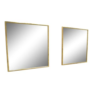 Square Gold Leaf Mirrors - A Pair For Sale