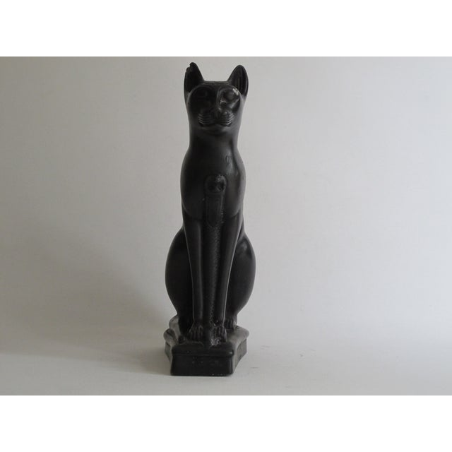 Egyptian Black Cat Carved Stone Sculpture - Image 5 of 10