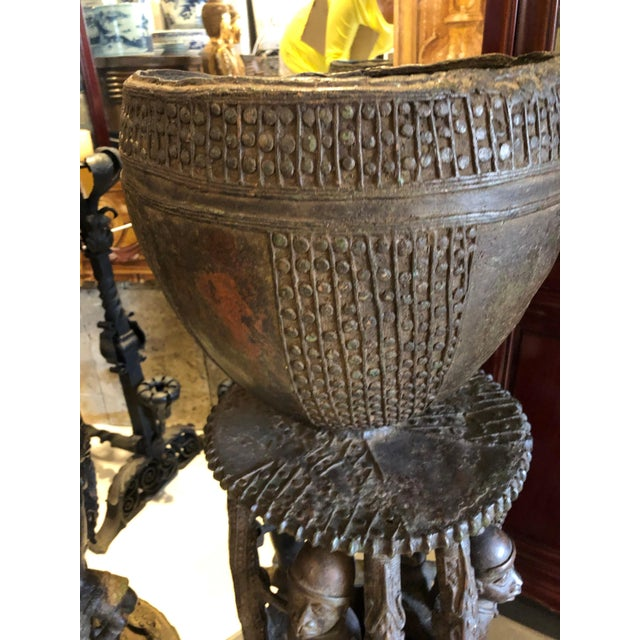 """A pair of handmade palace planters urns/vases having a bowl to the top sitting on a """"platform"""" then the column of people..."""