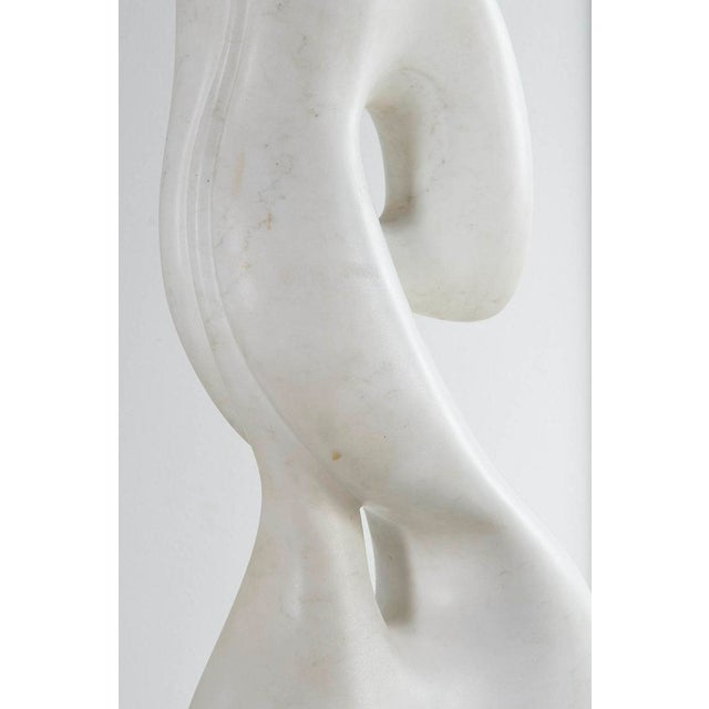 Mid 20th Century Biomorphic Carrara Marble Sculpture on Pedestal For Sale - Image 5 of 8