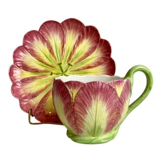 1980s Majolica Tulip Design Cup & Saucer Made by Mottahedeh - a Pair For Sale