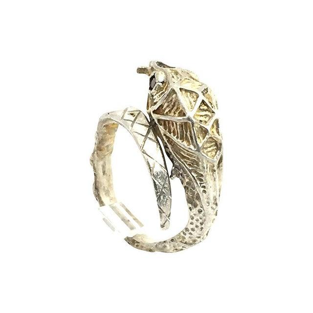 Traditional Etched Sterling & Garnet Snake Ring For Sale - Image 3 of 6