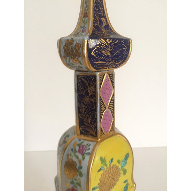 Vintage Middle Eastern Multicolor Floral Ceramic Bottle - Image 7 of 11