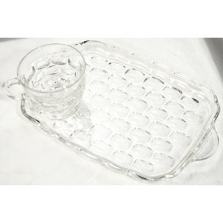 Midcentury Glass Thumbprint Snack Trays & Cups – Set of 8 - Set of 16 Preview