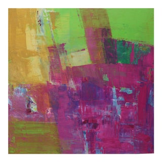 Green & Purple Contemporary Abstract Oil Painting