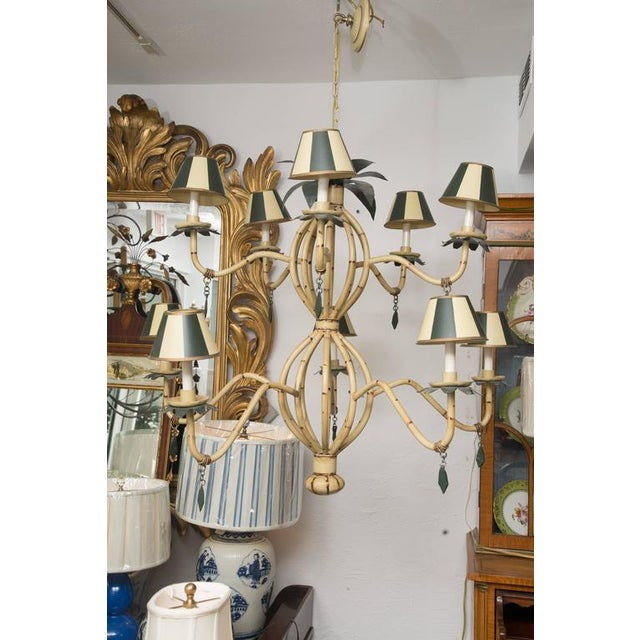 Polychrome Metal Ten-Light Faux Custom Bamboo Chandelier - Image 10 of 10