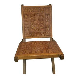 Vintage Peruvian Leather Folding Chair For Sale