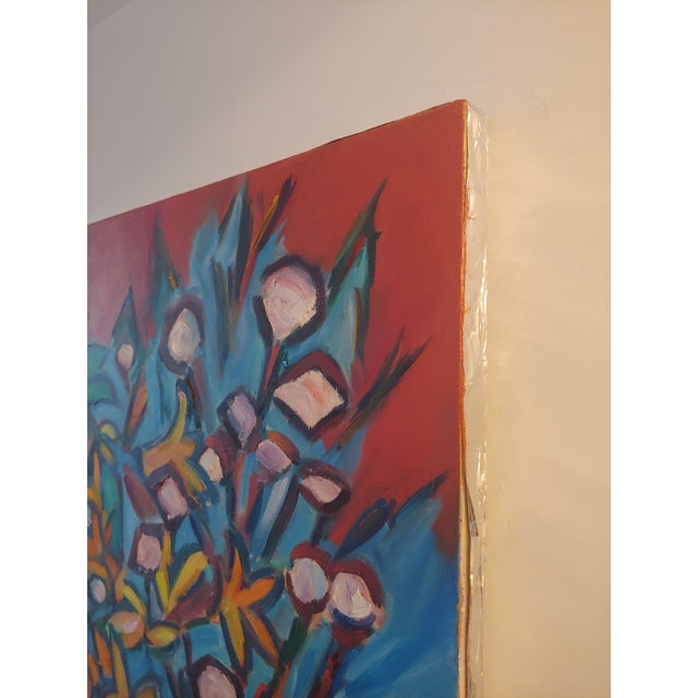 Canvas Original Lilies 1 Abstract Still Life Large Painting by Richard Youniss For Sale - Image 7 of 11