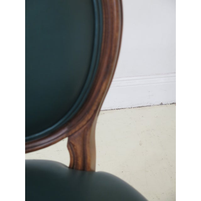 Animal Skin 1990s Vintage Green Leather French Style Dining Room Chairs- Set of 6 For Sale - Image 7 of 11
