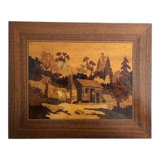 1950s William Bader Inlay Marquetry Picture Cabin in the Smokies For Sale