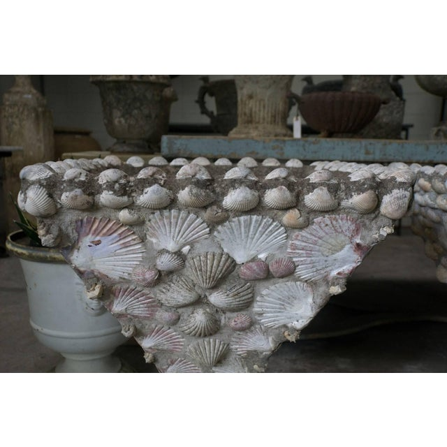 Cement planter with embedded shells, circa 1940, France Measures: 22'' Sq x 28'' H 3 available $5,500.00ea.