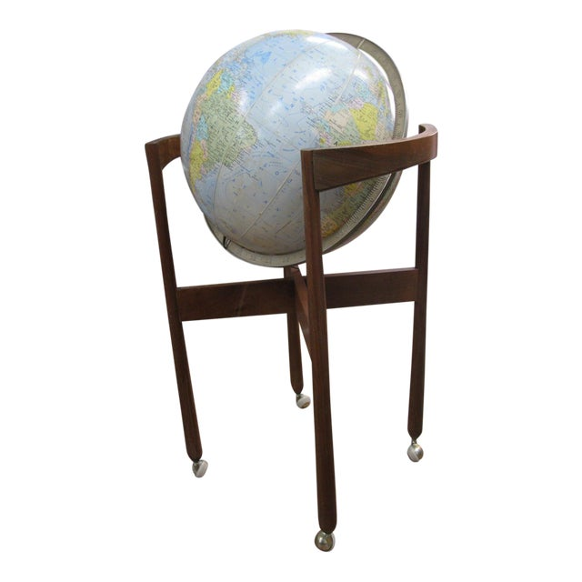 Jens Risom Sculptural Walnut Globe on Casters - Image 1 of 11