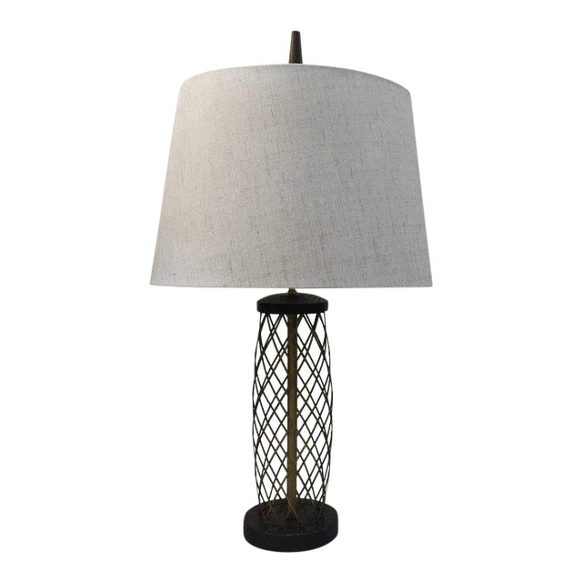 Royere Style Ebonized Oak and Brass Lattice Table Lamp - Image 1 of 7