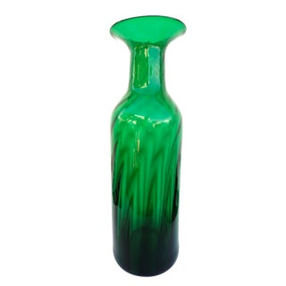 "Blenko|• #6956 Architectural Floor Vase Optic Emerald Green 22.5"" Hand Blown Art Glass Vase Collectible Mid-Century West Virginia Glass For Sale"