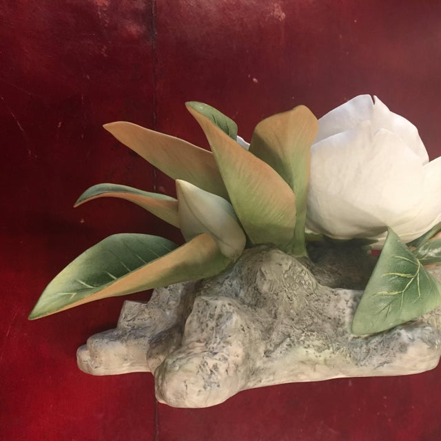 "Late 20th Century Vintage Hand-Fashioned Boehm Porcelain Bisque Centerpiece ""Magnolia Grandiflora"" Signed by Helen Boehm For Sale - Image 5 of 9"