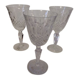 1930s Royal Doulton Leaded Crystal Wine Glasses, Windsor Pattern - Set of 3 For Sale