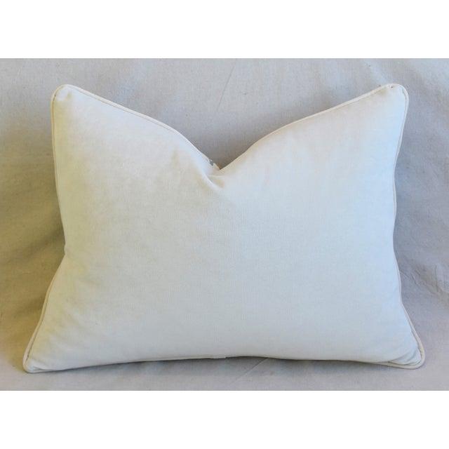 "Designer Italian Floral Linen Velvet Feather/Down Pillows 24"" X 18"" - Pair For Sale - Image 10 of 13"