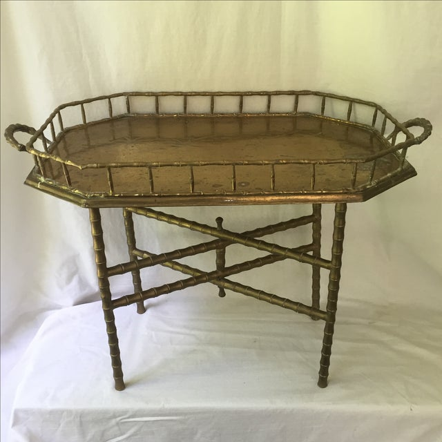 Vintage Brass Bamboo Tray Table - Image 3 of 6