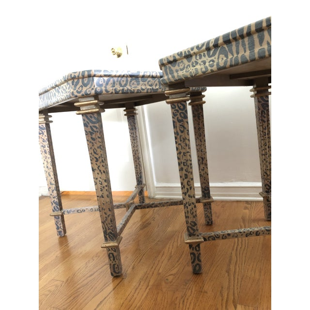 1990s Neoclassical Hand Painted Faux Leopard Side Tables - a Pair For Sale - Image 5 of 10