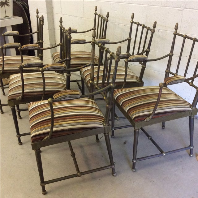 Italian Rams Head Motif Brass Dining Chairs - Set of 6 For Sale - Image 4 of 12