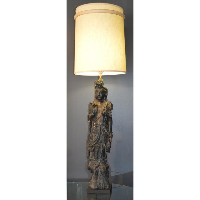 Chinese Bronze Goddess Lamp - Image 2 of 9