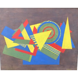 Geometric Abstract Mid-Century Modern Oil Painting For Sale