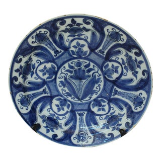 18th Century Antique Delft Charger For Sale