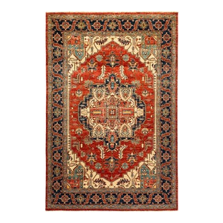 One-Of-A-Kind Oriental Serapi Hand-Knotted Area Rug, Crimson, 5' 9 X 8' 8 For Sale