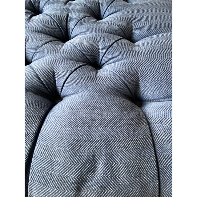 Metal Vintage Periwinkle Blue Robert Allen Upholstery Ottoman For Sale - Image 7 of 12
