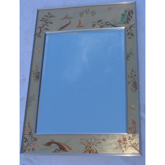 Chrome La Barge Mid-Century Modern Hand Painted Chinoiserie Mirror For Sale - Image 8 of 11