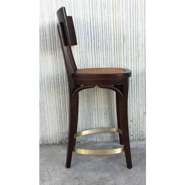 Set of Six Caned Seat and Wood Back Bar Stools For Sale In Miami - Image 6 of 13