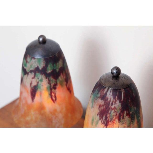 Edgar Brandt Pair of Edgar Brandt & Daum Art Deco Table Lamps For Sale - Image 4 of 10
