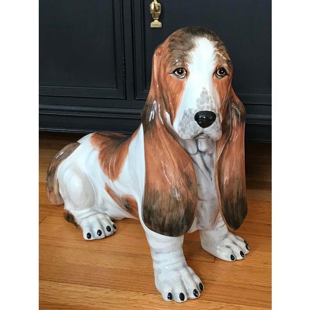 Vintage Italian Ceramic Life Size Bassett Hound Dog Sculpture For Sale - Image 9 of 9