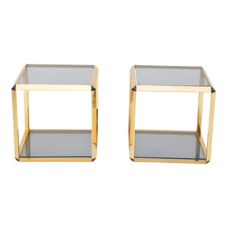 Pair of Gold Colored Side Tables by Alberto Rosselli for Saporiti For Sale