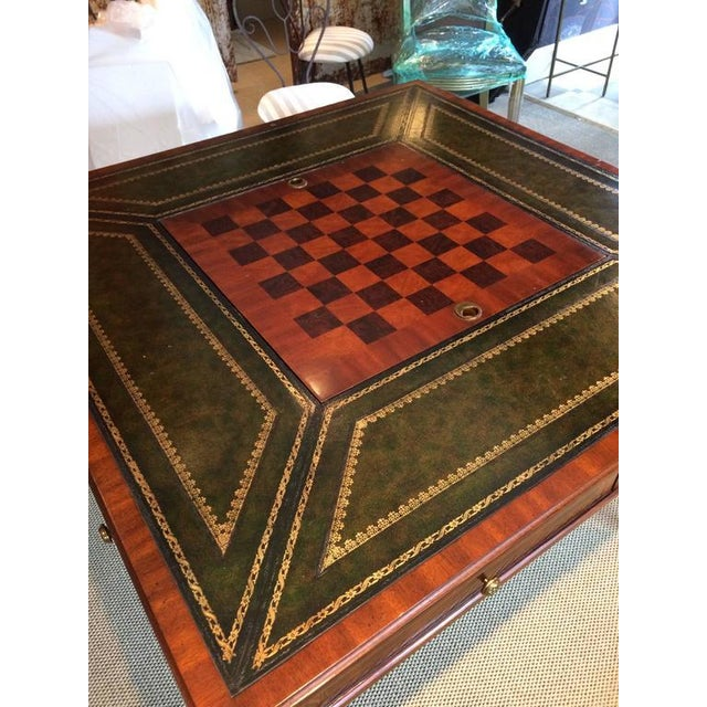 Inlaid & Tooled Leather Game Table - Image 4 of 4