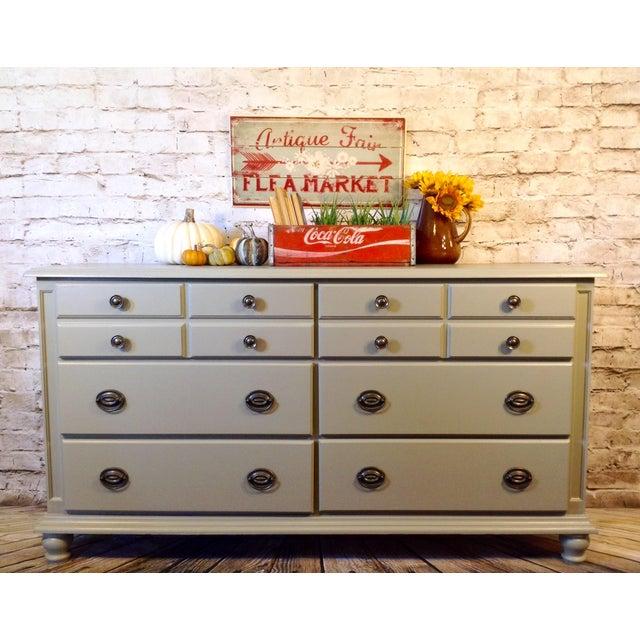 Dresser Buffet Sideboard Nursery Media Console Gray Industrial