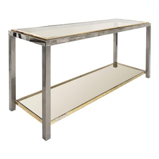 1970s Romeo Rega Brass and Chrome Two-Tier Console For Sale
