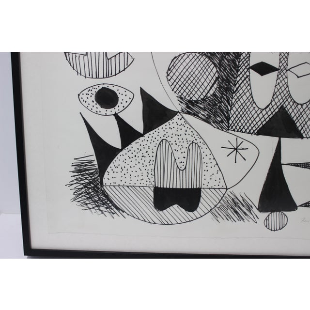 Paper Mid-Century Modern 1970 Pen-Ink Abstract Painting by Listed Artist Rene Marcel Gruslin For Sale - Image 7 of 12