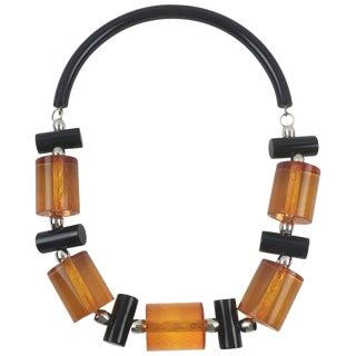Judith Hendler Orange and Black Acrylic Lucite Neck Ring Necklace With Beads For Sale
