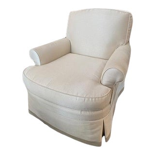 Odom Chair Slipcovered in White For Sale