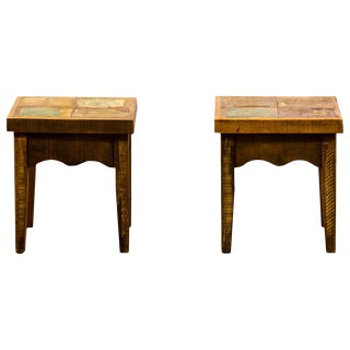 Reclaimed Solid Wood Stools - A Pair For Sale