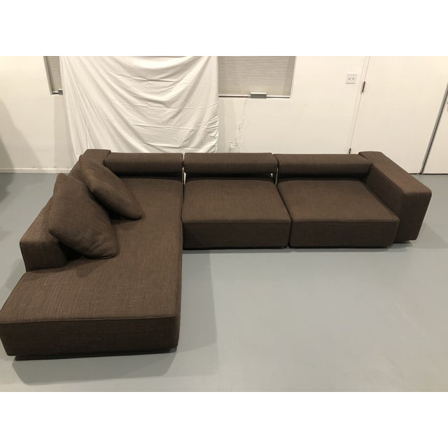Authentic, rare, and iconic B&B Italia Andy 3-section sofa in brown wool. A design classic, each of the sofa's three...