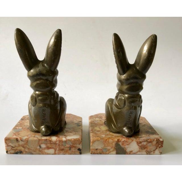 1920s Art Deco Hippolyte Moreau Rabbit Bookends - a Pair For Sale - Image 4 of 9