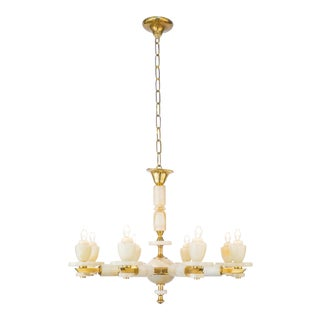 Onyx Brass Eight Arm Chandelier For Sale