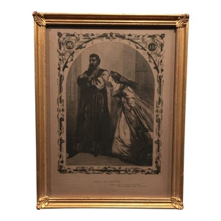 Mid-1800s English Engraving by William Luson Thomas,of Shakespeare's Othello and Desdemona, Framed For Sale